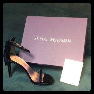 Stuart Weitzman My Bow Navy Velvet Heels